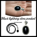 Black lightning stone pendant protection talisman amulet good luck charm pendant  V3